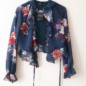 Forever 21 Floral Ruffle Wrap Semi Sheer Blouse